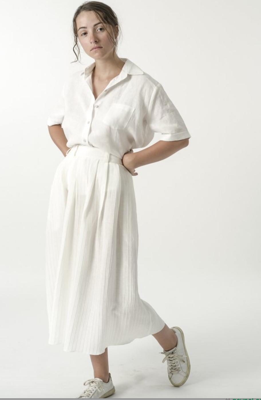Good Studio Natural Hemp Silk Pleated Skirt