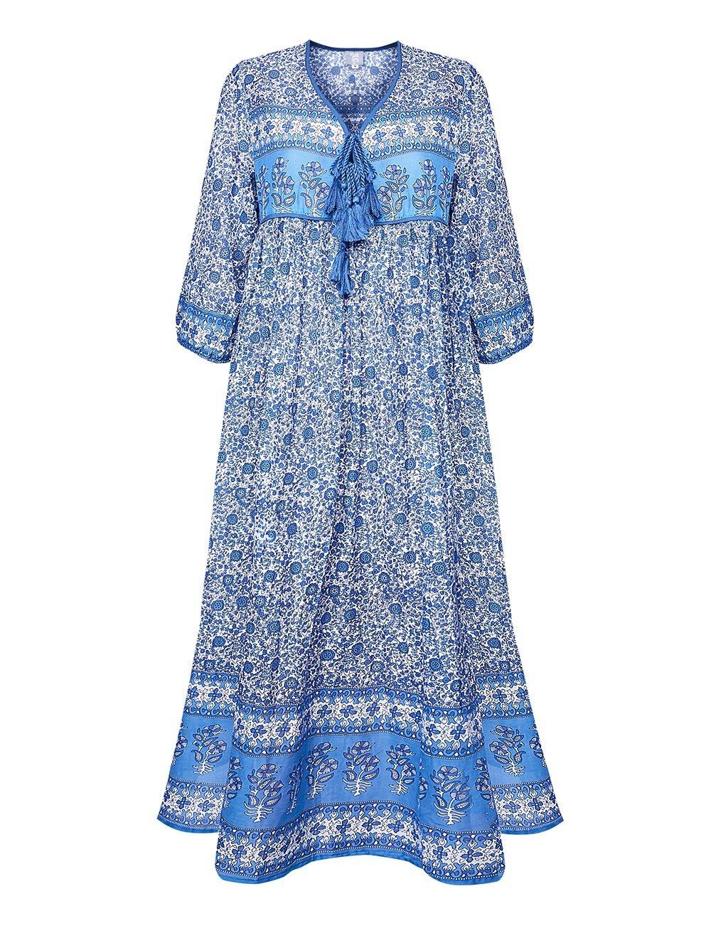 Dillie Grey Boho Maxi Dress