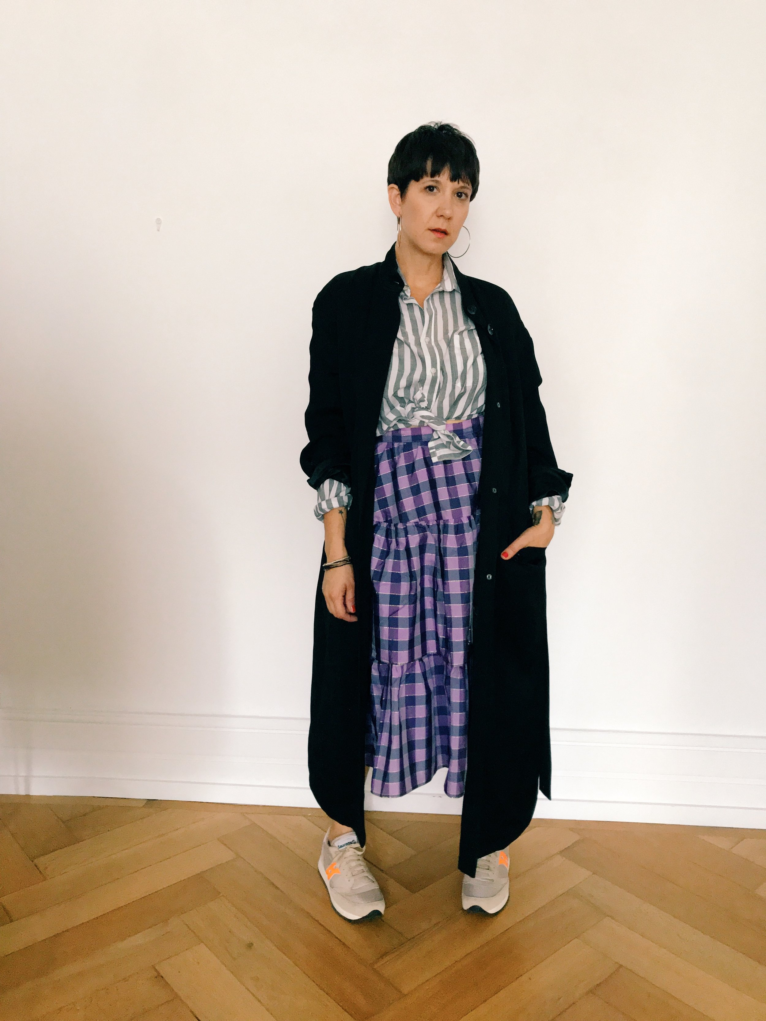 daytime - worn with vintage striped skirt, Hope Stockholm duster, saucony trainers and the hoop station earrings.