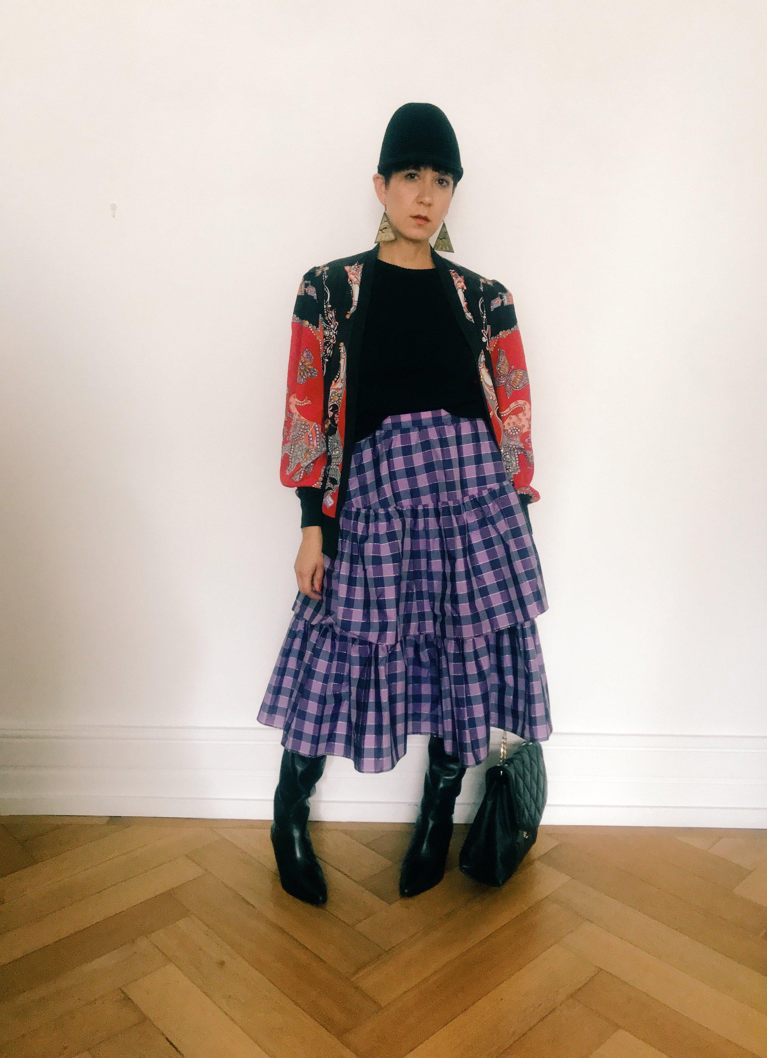 evening - skirt worn with felt hat, Rosita Bonita earrings, vintage coat from Vintage Revivals, black shirt from Zara, boots from & Other Stories, secondhand handbag