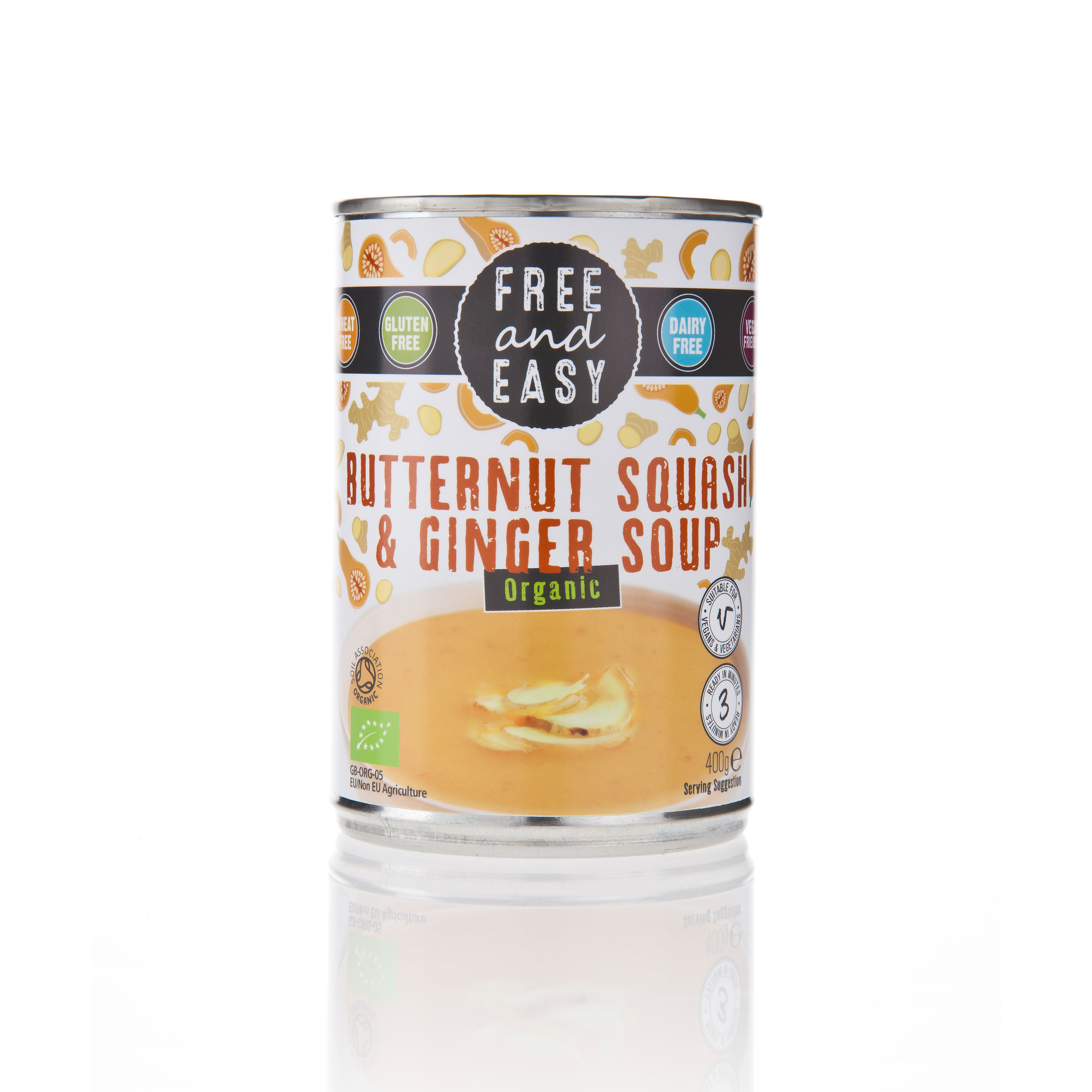 Free and Easy Butternut Squash & Ginger Soup - An organic low fat soup made with butternut squash balanced with a hint of fiery ginger.400g