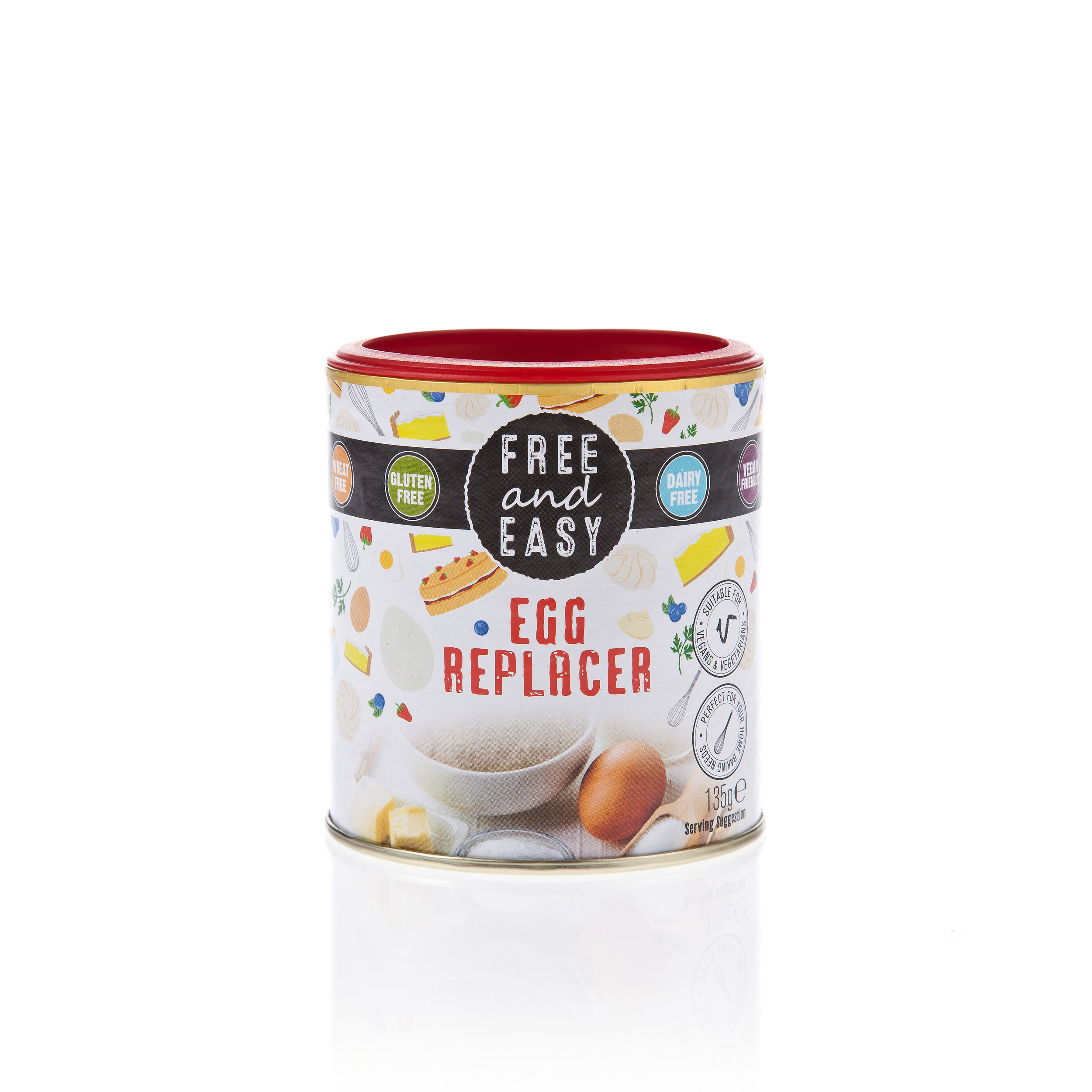 Free and Easy Egg Replacer - Gluten-free, vegan and suitable for all kinds of home baking – cakes, meringues and pancakes for example – and is low in fat and free from preservatives.130g