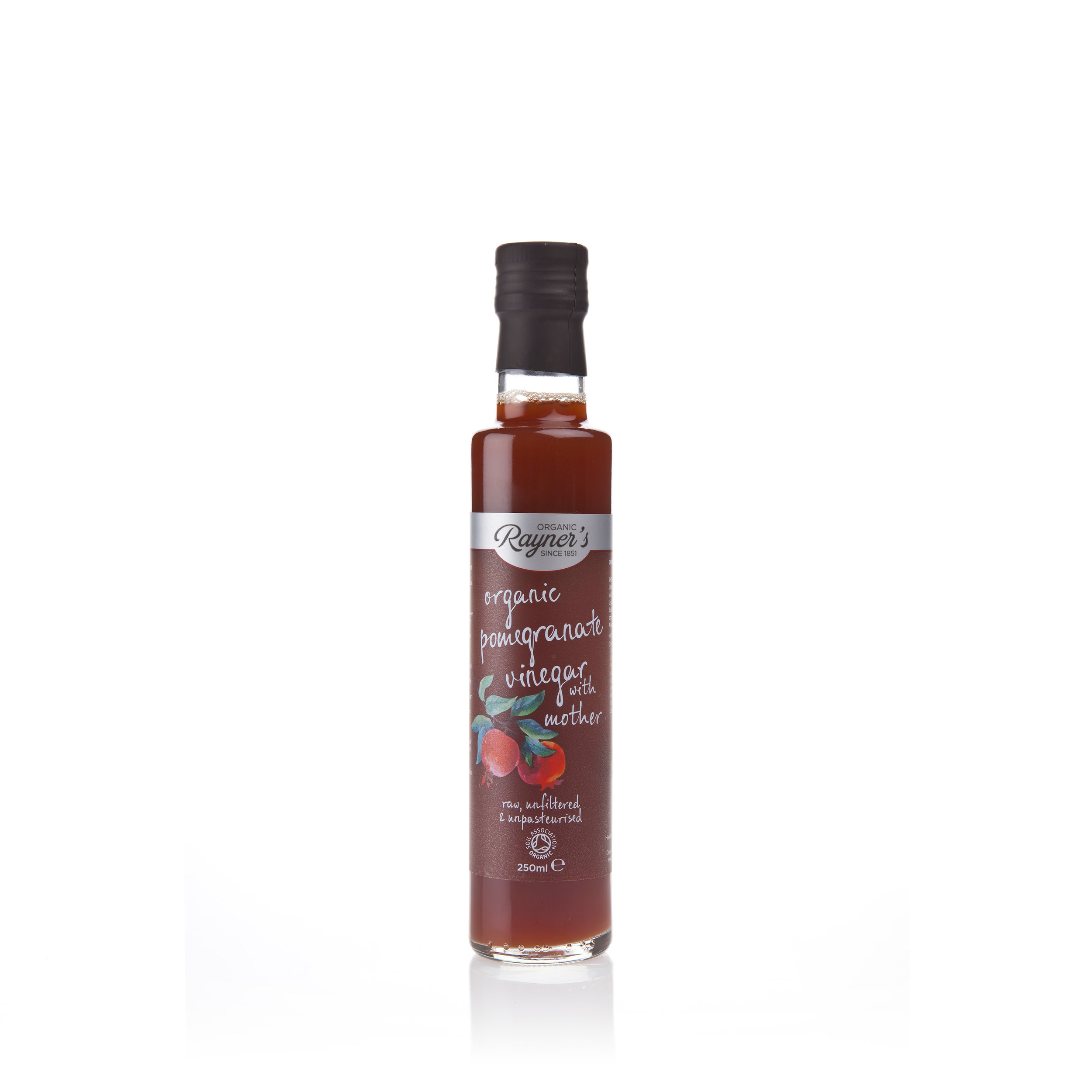 """Rayner's Organic Pomegranate Vinegar with Mother  - Rayner's Organic Pomegranate Vinegar is raw, unfiltered, unpasteurised and contains """"The Mother"""". Give it a shake to unlock the live bacteria and natural enzymes. Rich in antioxidants, it includes a dash of organic pomegranate juice to enhance that delicious pomegranate flavour. With its delicate aroma and distinctive taste, Rayner's Organic Pomegranate Vinegar works perfectly as a salad dressing, along with marinades and sauces. To make a refreshing tonic add a tablespoon to a glass of water with honey and enjoy.250ml"""