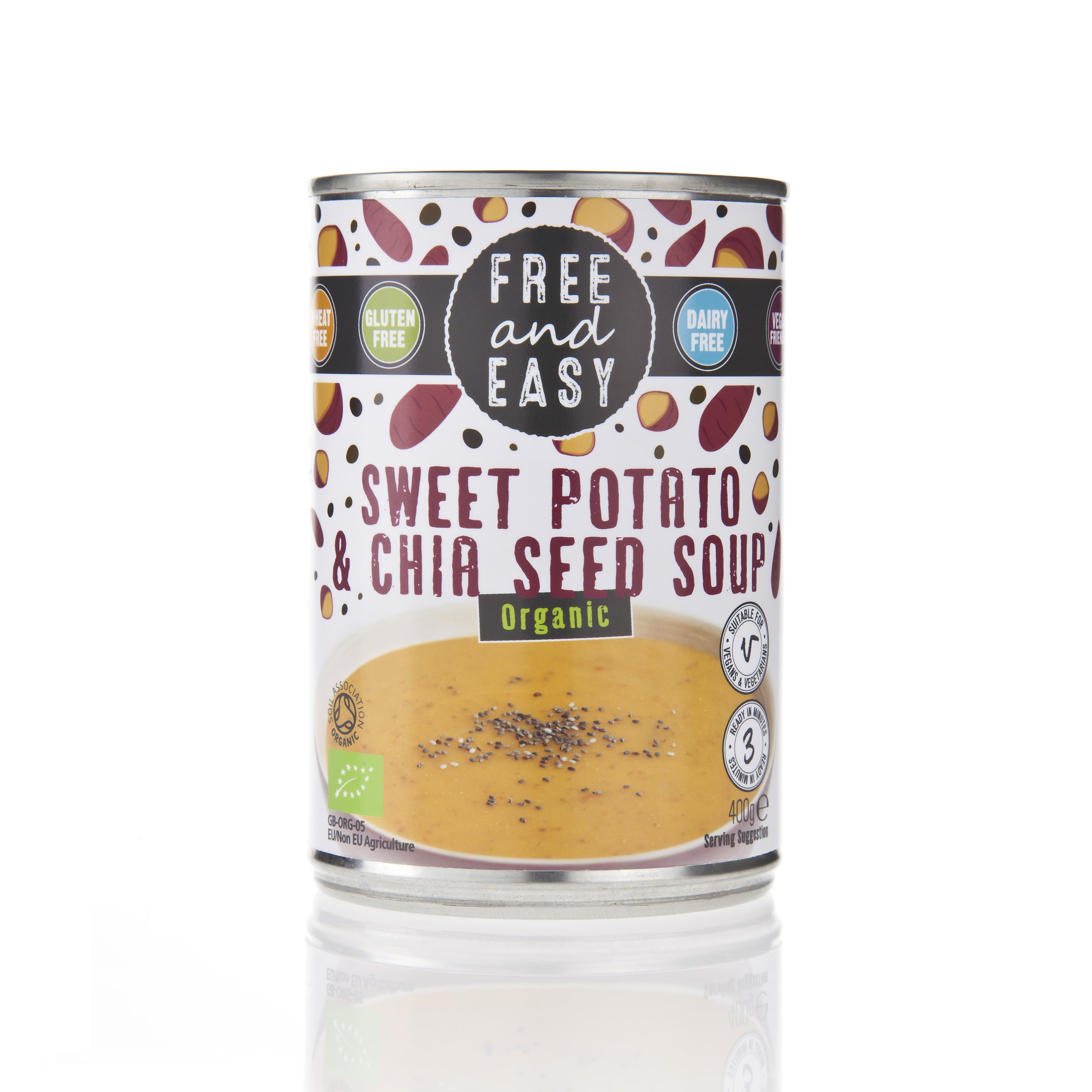 Free and Easy  Sweet Potato & Chia Seed Soup - Organic sweet potato soup flavoured with chia seeds.400g