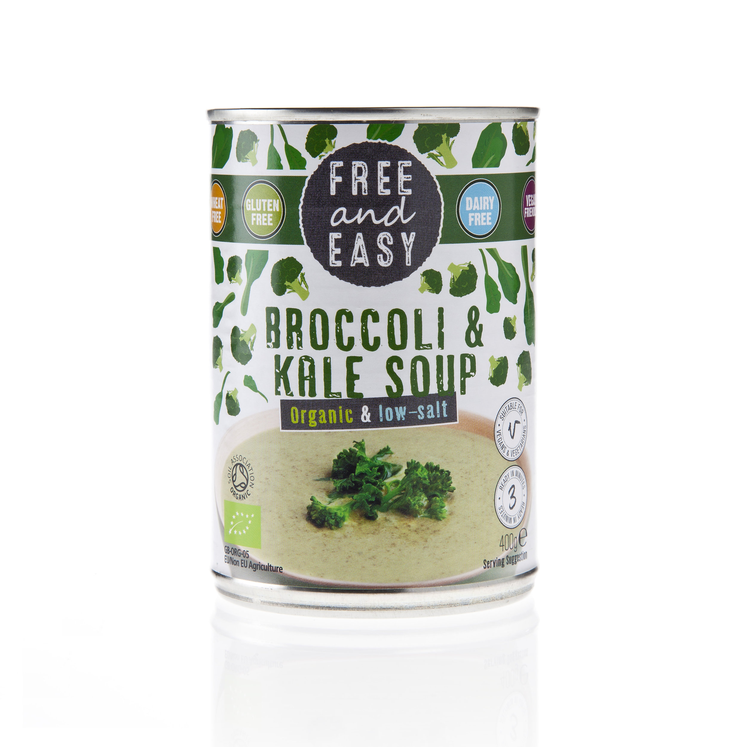Free and Easy - Broccoli & Kale - Low Salt Soup - A delicious low salt and low fat organic bowl of loveliness.400g