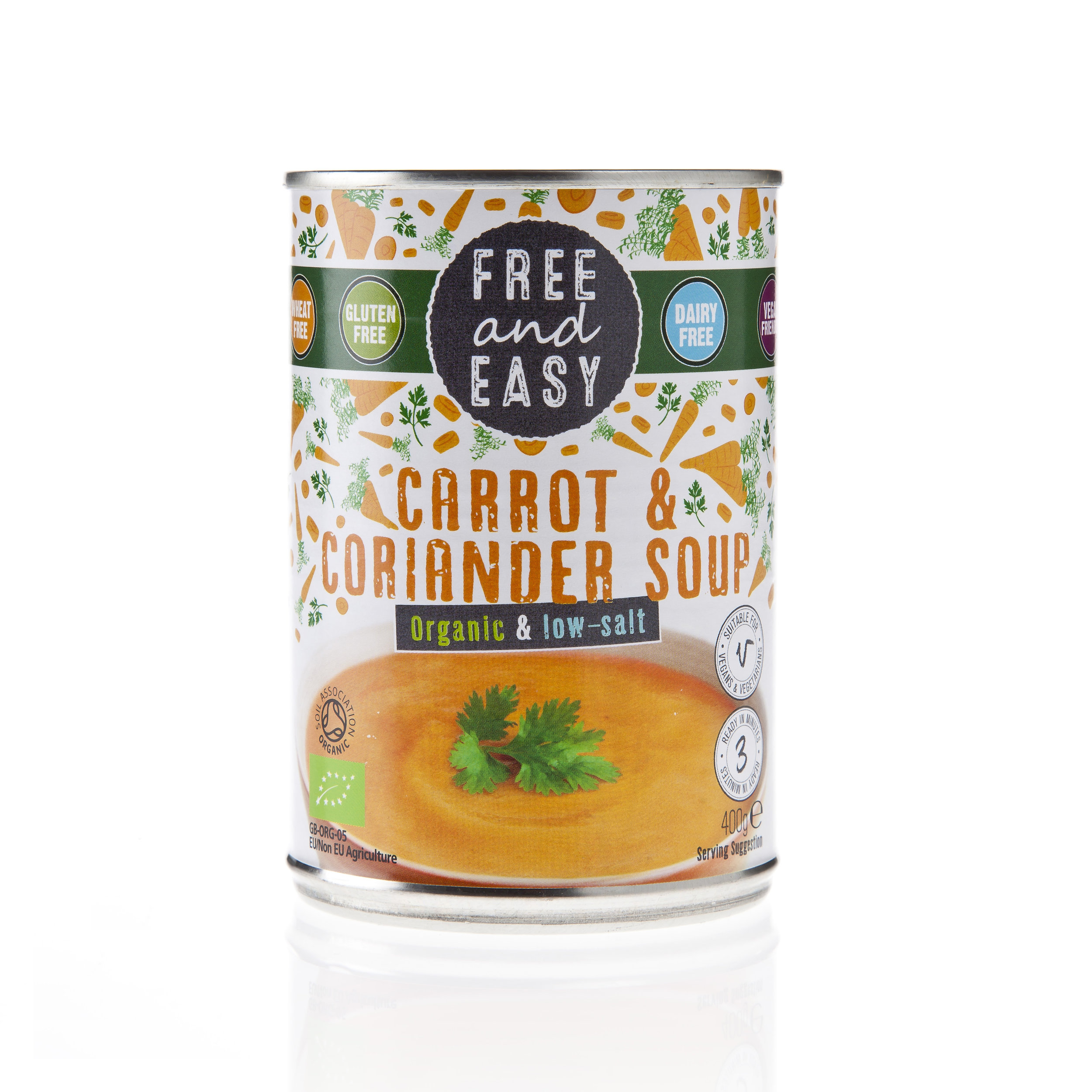 Free and Easy - Carrot & Coriander - Low Salt Soup - Organic low-fat and low salt soup with sweet carrot and fragrant coriander.400g