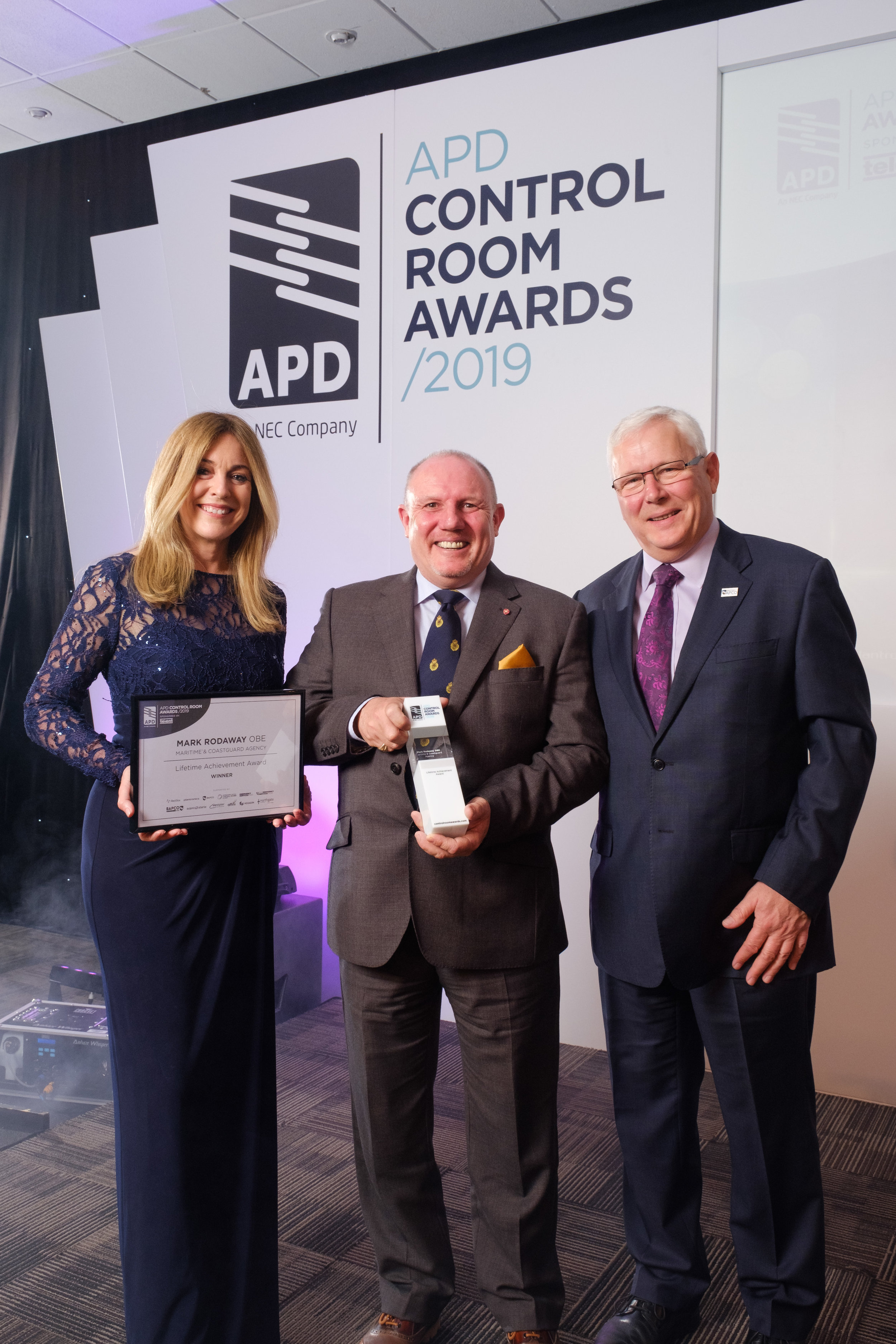 Mark Rodaway OBE, Lifetime Achievement Award winner with John Anthony MBE presenting from BAPCO Show 2019