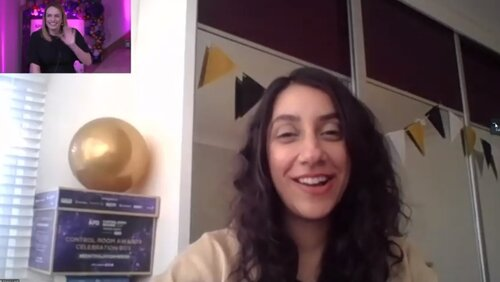Shani Latif, of awards Platinum Partner Telent, is introduced by Rhiannon Beeson during the online event.