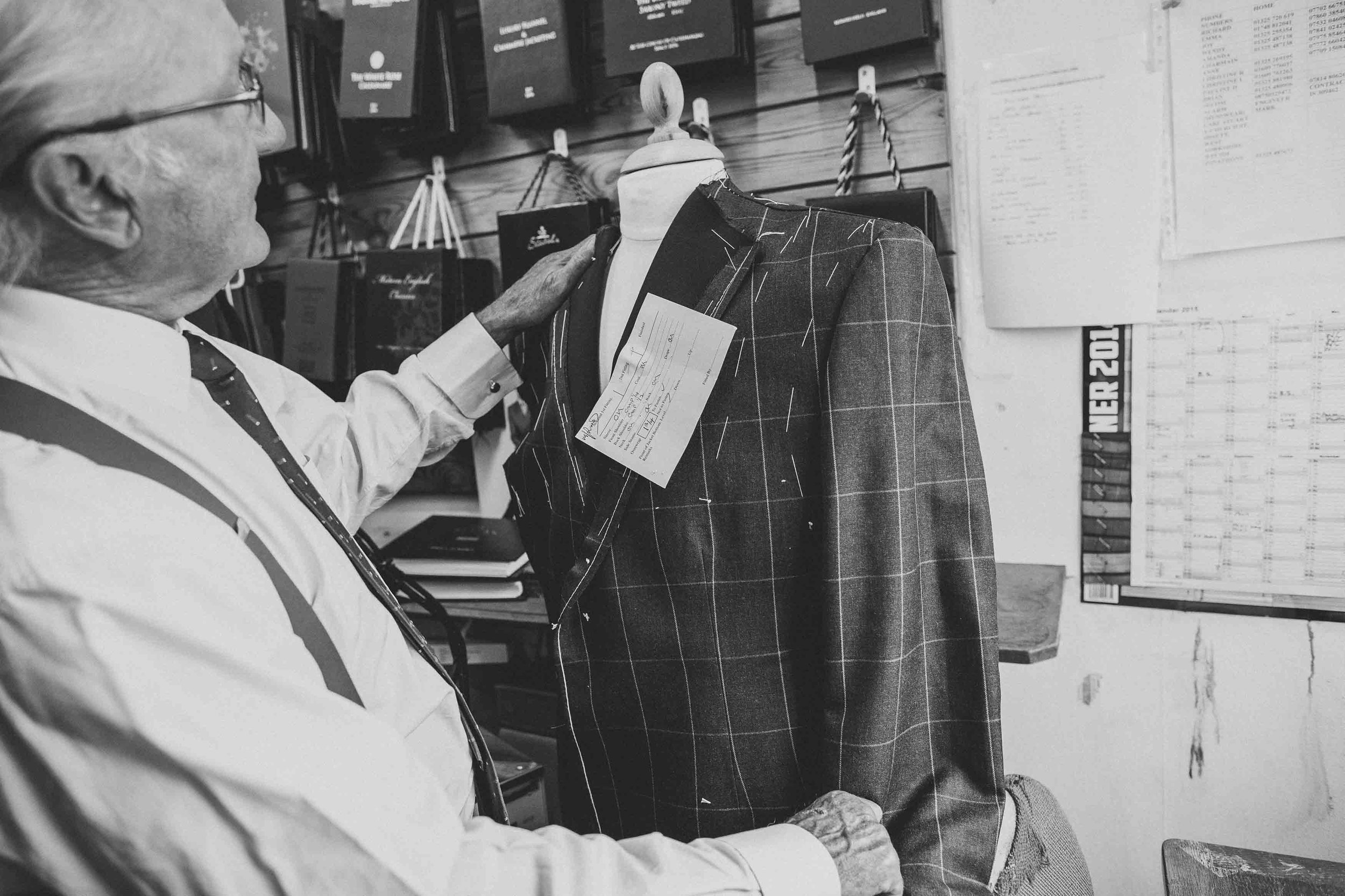 4. FITTING AND COLLECTION - Once your suit has been fitted on your second visit it is tailored and hand finished, at this stage your suit will be fitted again and minor adjustments can be made, once you've had your final fitting you suit is ready to take away.  The whole process takes about 9 weeks.