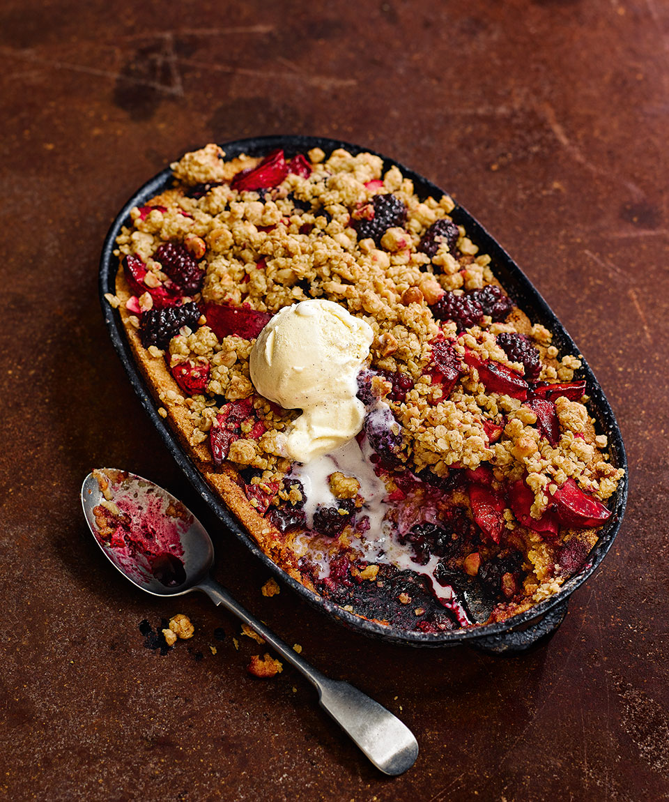 Blackberry and apple frangipane crumble