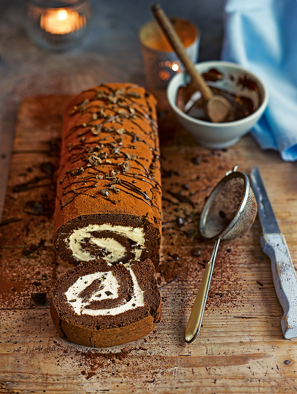 Chocolate and coffee roulade