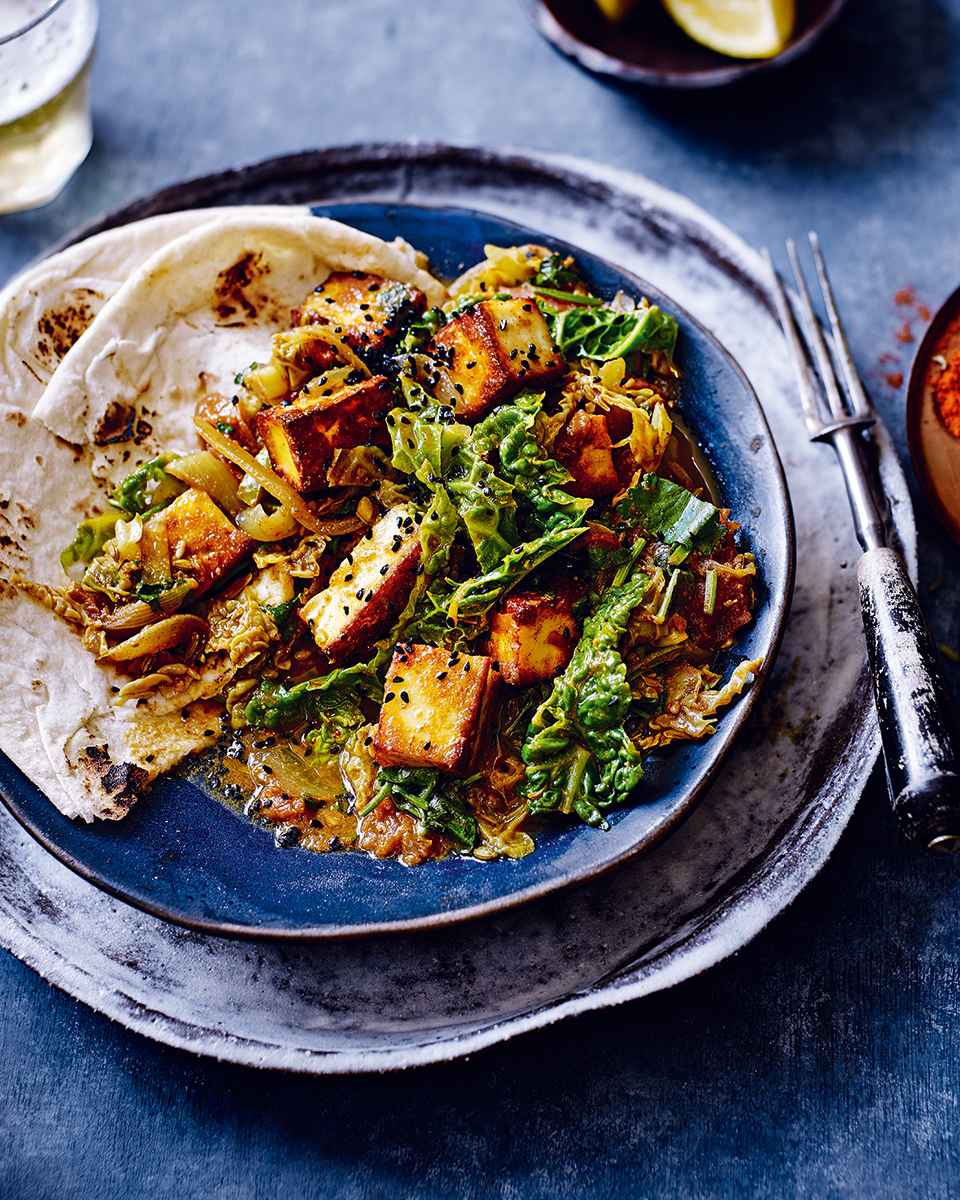 Paneer and cabbage curry