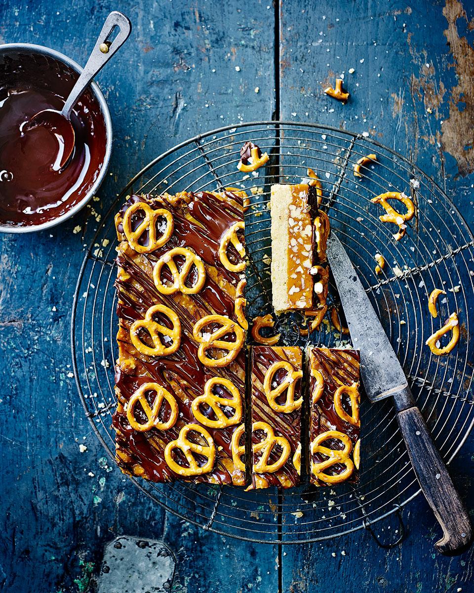 Pecan and pretzel salted caramel bars