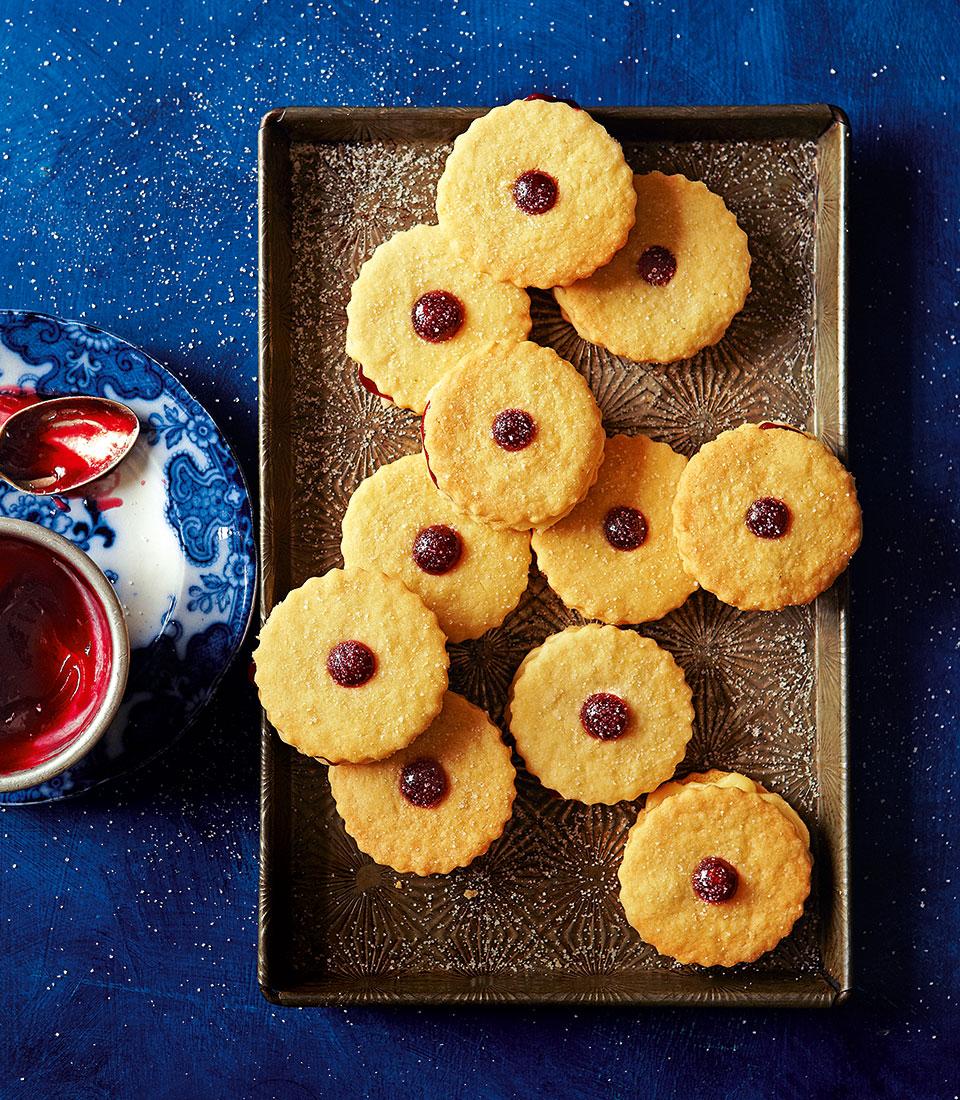Raspberry and almond cream shortcake sandwiches