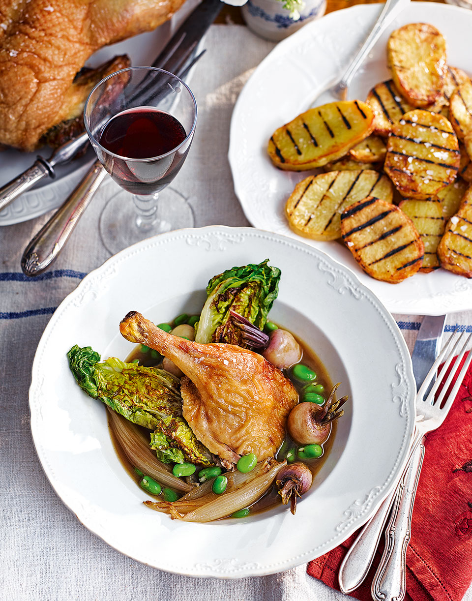 Roast duck with baby turnips and broad beans