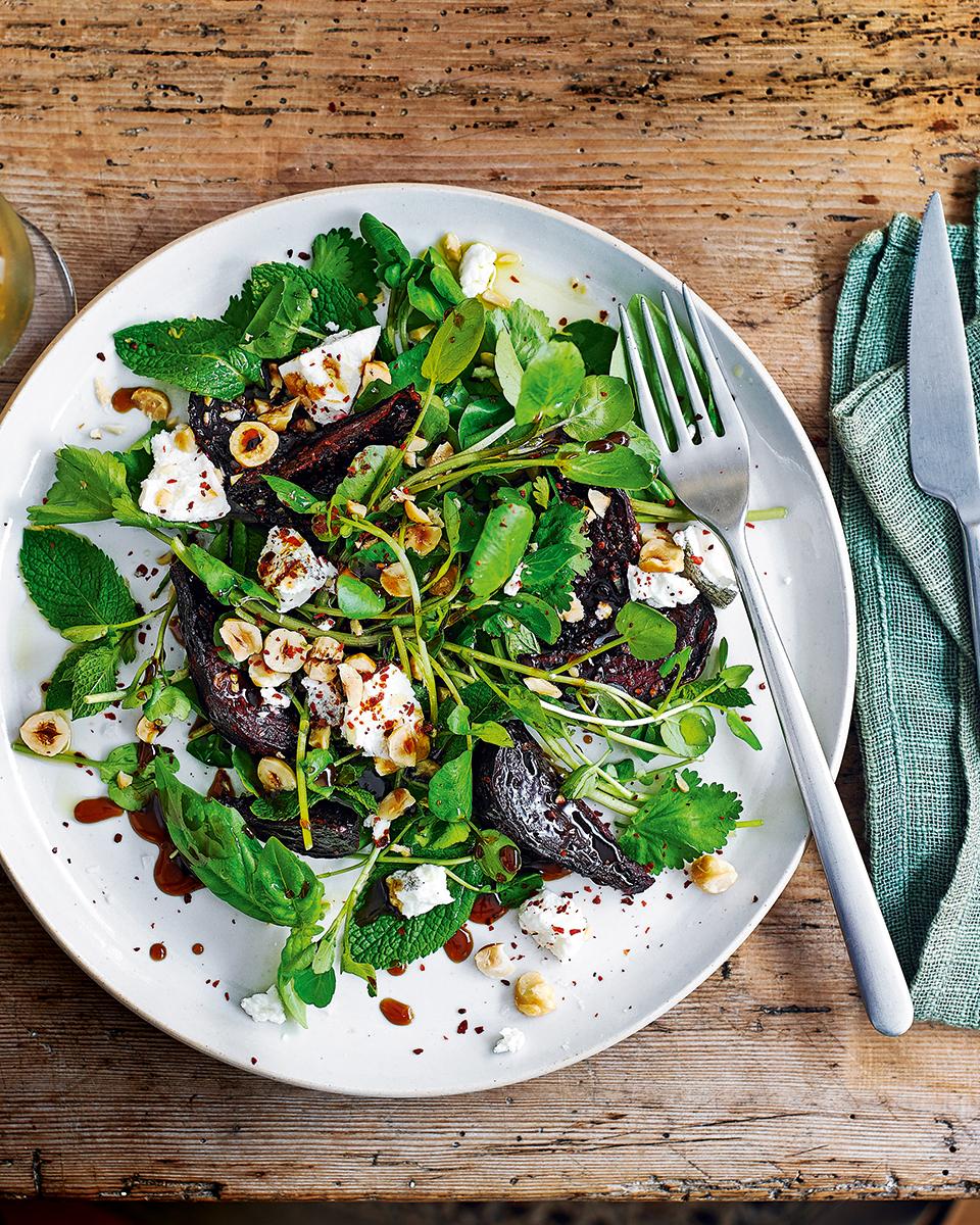 Roast beetroot, herbs, hazelnuts and pomegranate molasses