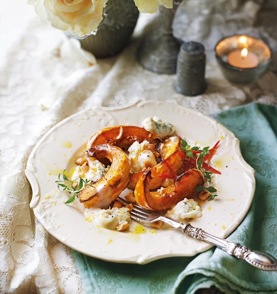 Roast pumpkin with hazelnuts, blue cheese and thyme