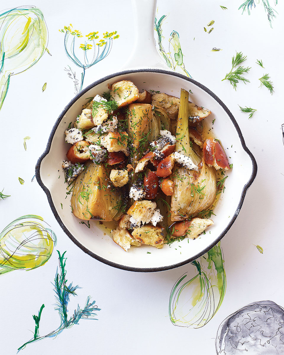 Sherry-braised fennel with pretzel crumbs and goats cheese