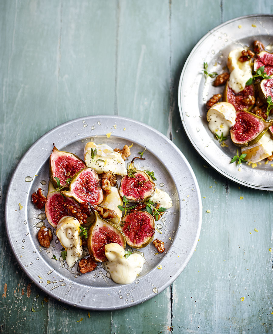 Warm baked figs with goats cheese and honey