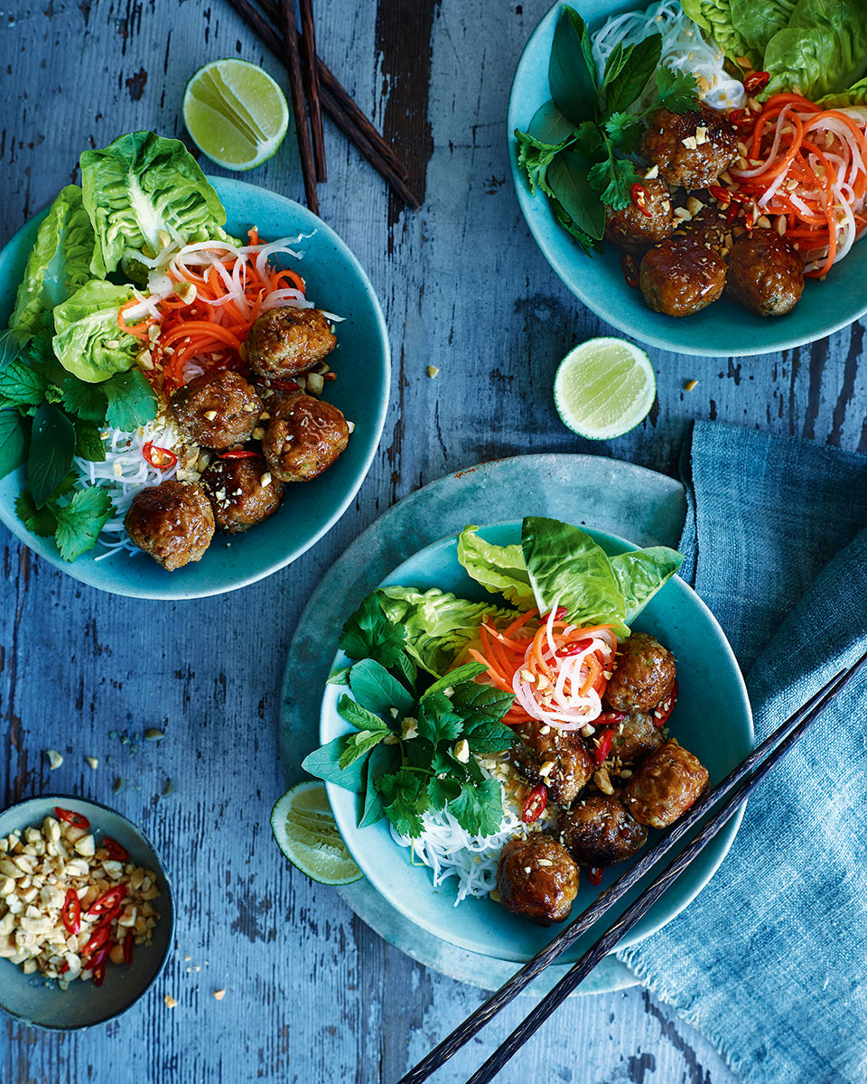Vietnamese pork meatballs with noodles and pickled veg