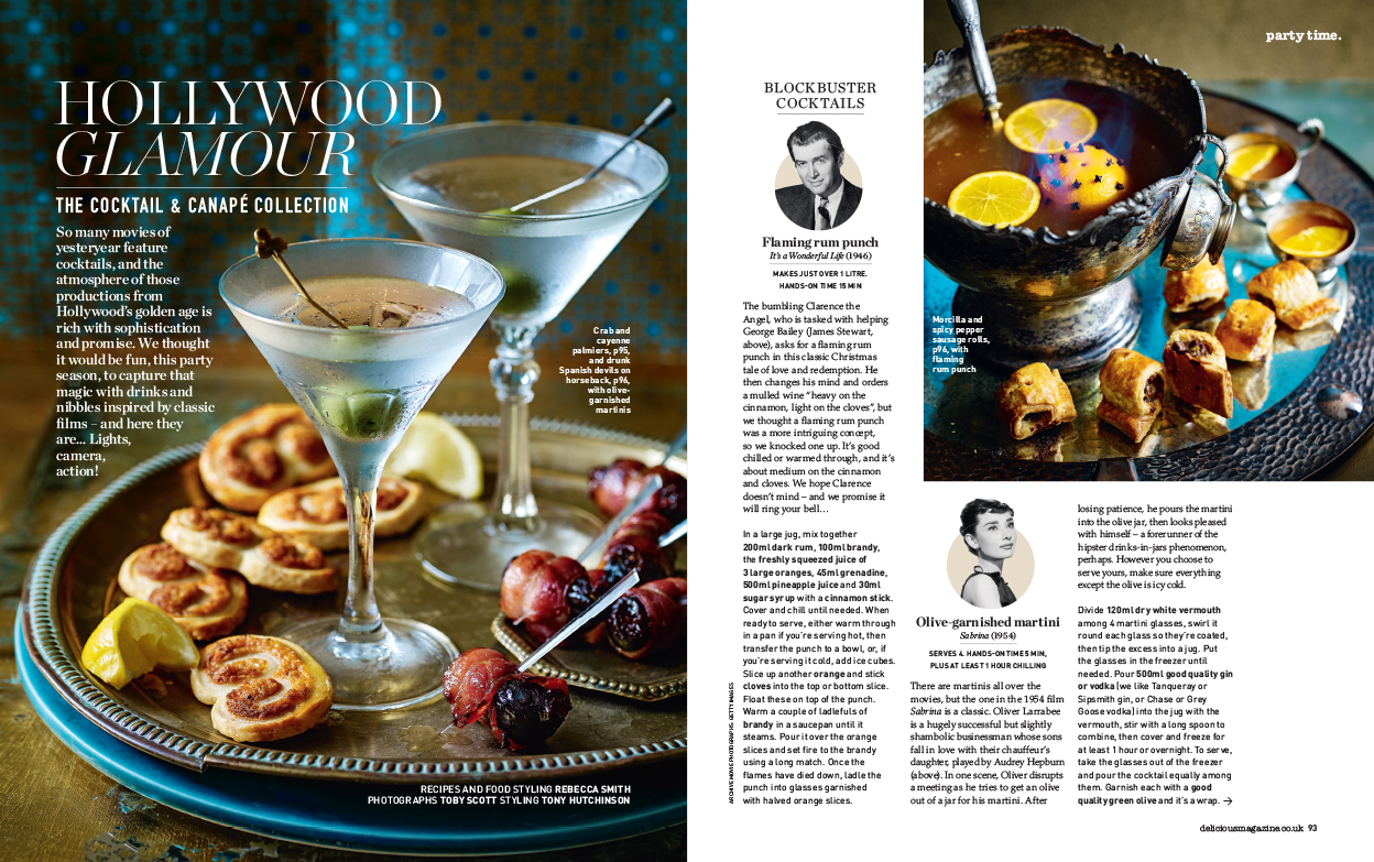 A recipe feature of canapes and cocktails created from classic Hollywood movies, with a styling brief to match