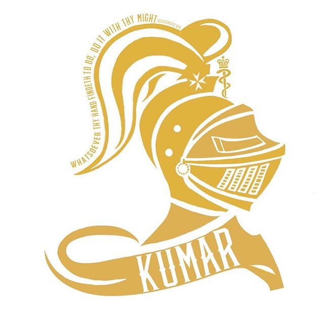 This is the winning house logo by Kumar house named after Dame Parveen Kumar in the gold house colours designed by the students. Dame Kumar was a cofounder and editor of the standard medical textbook, Kumar and Clark's Clinical Medicine, and has held numerous roles in medical education at Barts.