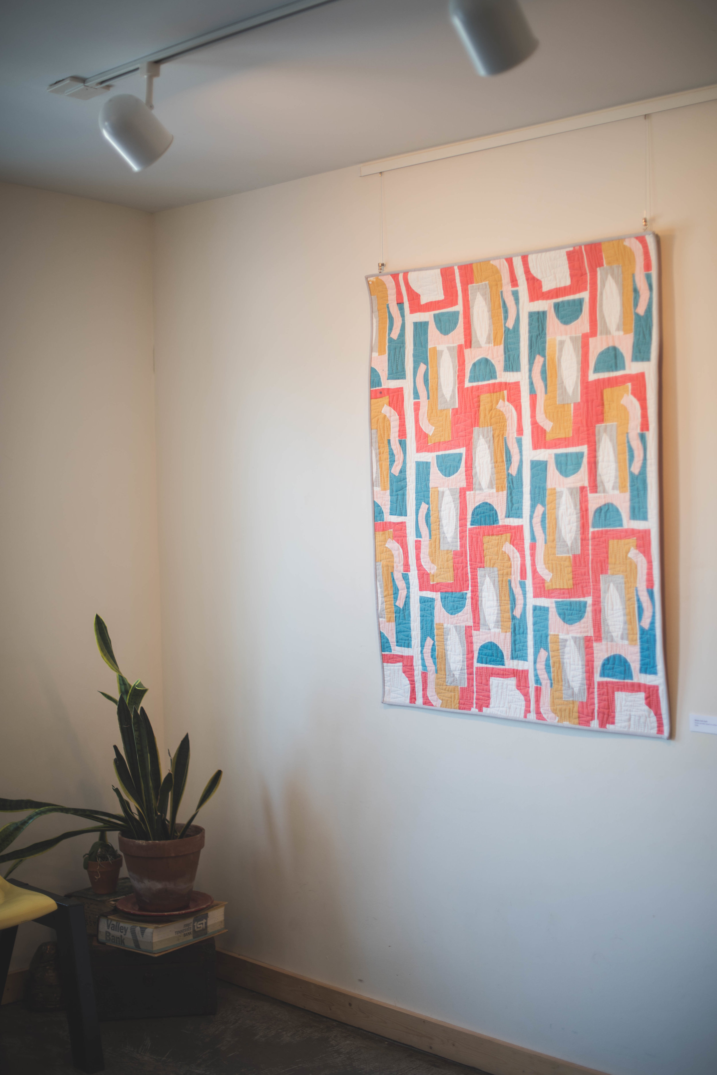MNETextiles Ode to Coral, Screen Printed Whole-Cloth Quilt
