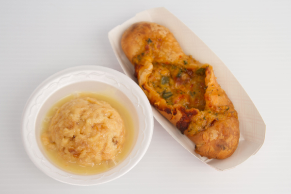 Crawfish strudle and bread pudding with white chocolate.jpg