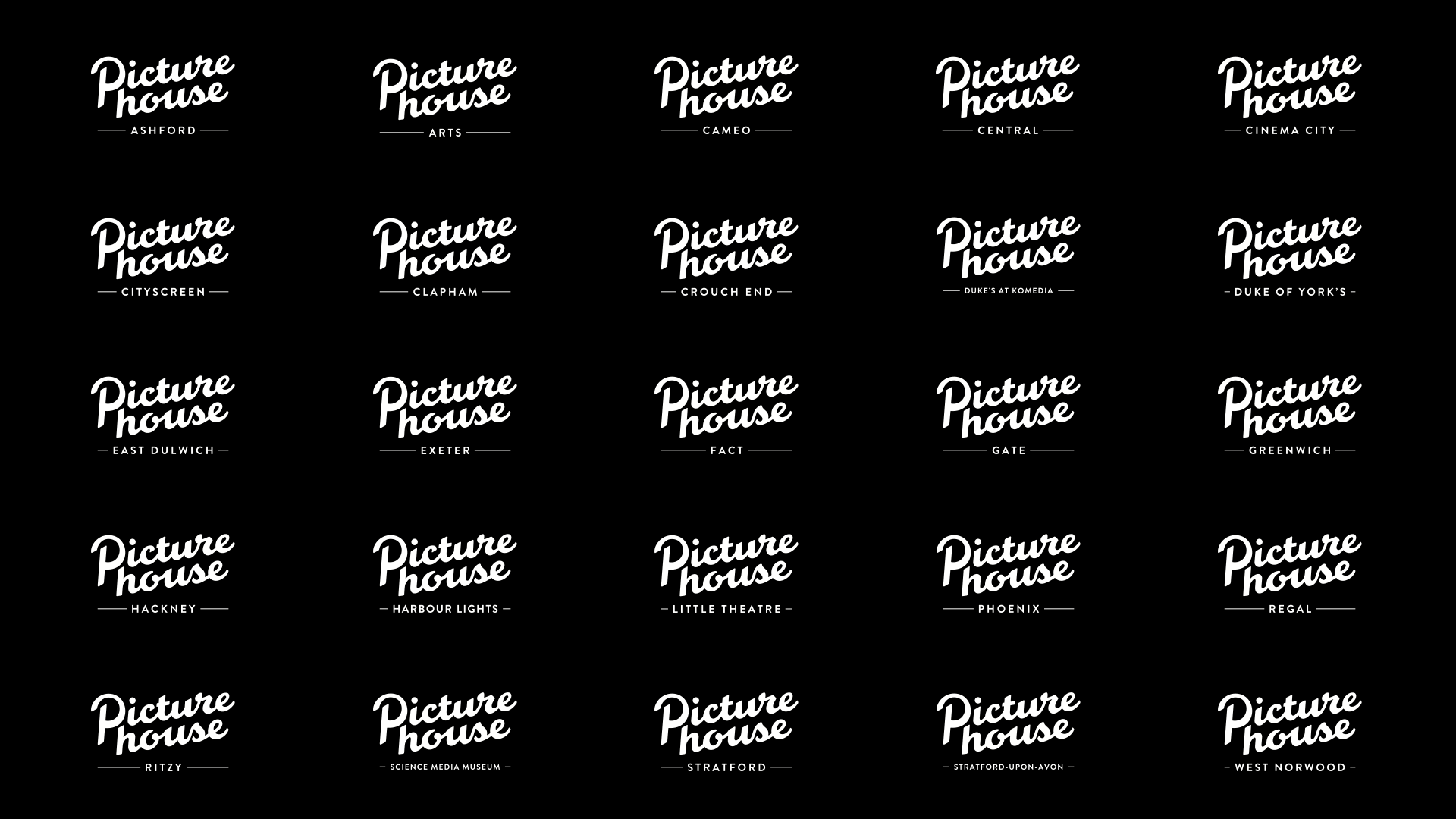 The family of Picturehouse Cinemas, each with a consistent branded logo