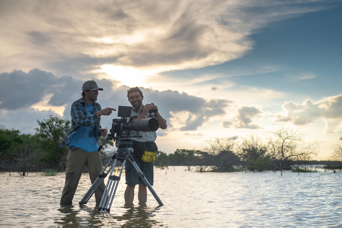 National Geographic videographer Keith Ladzinski shooting The Birders in La Guajira Department, WhereNext's feature documentary on Colombian bird diversity