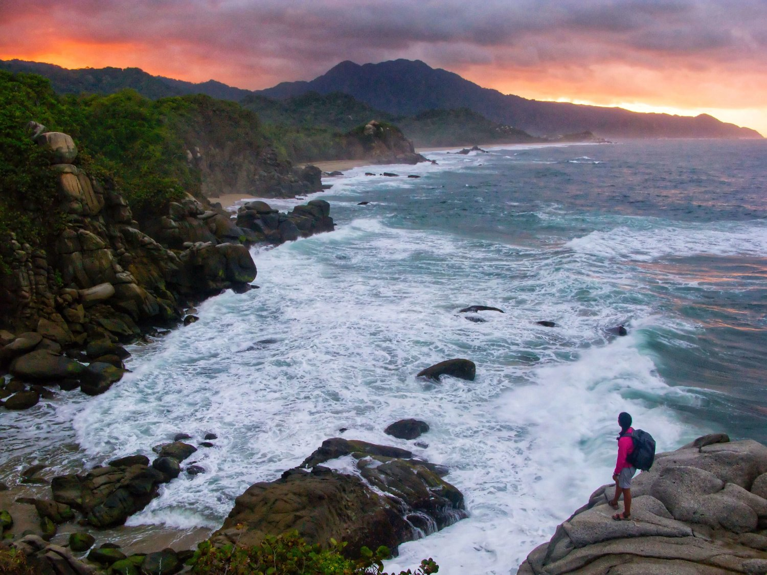 WhereNext filming at our favorite sunset spot in Tayrona National Park. Photo: Gregg Bleakney / WhereNext