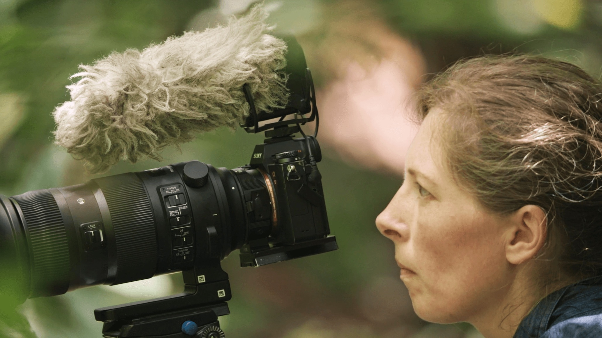 Morgan Heim, documentary filmmaker and protagonist of 'The Birders: Mitú', working on a bird shot in the Colombian Amazon