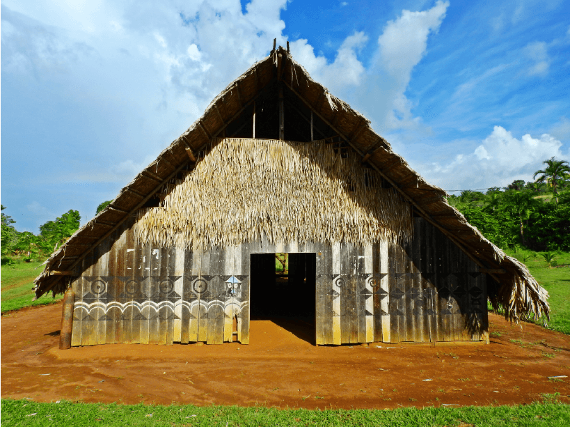 The Maloca (an ancestral long house used by Indigenous people of the Amazon) of the Urania community near Mitú