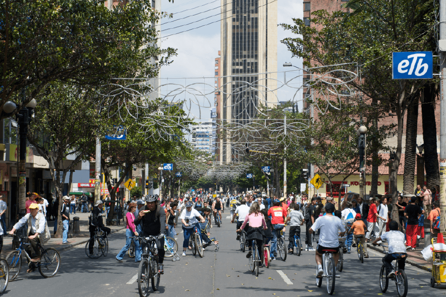 Ciclovía on Seventh Street in Downtown Bogotá