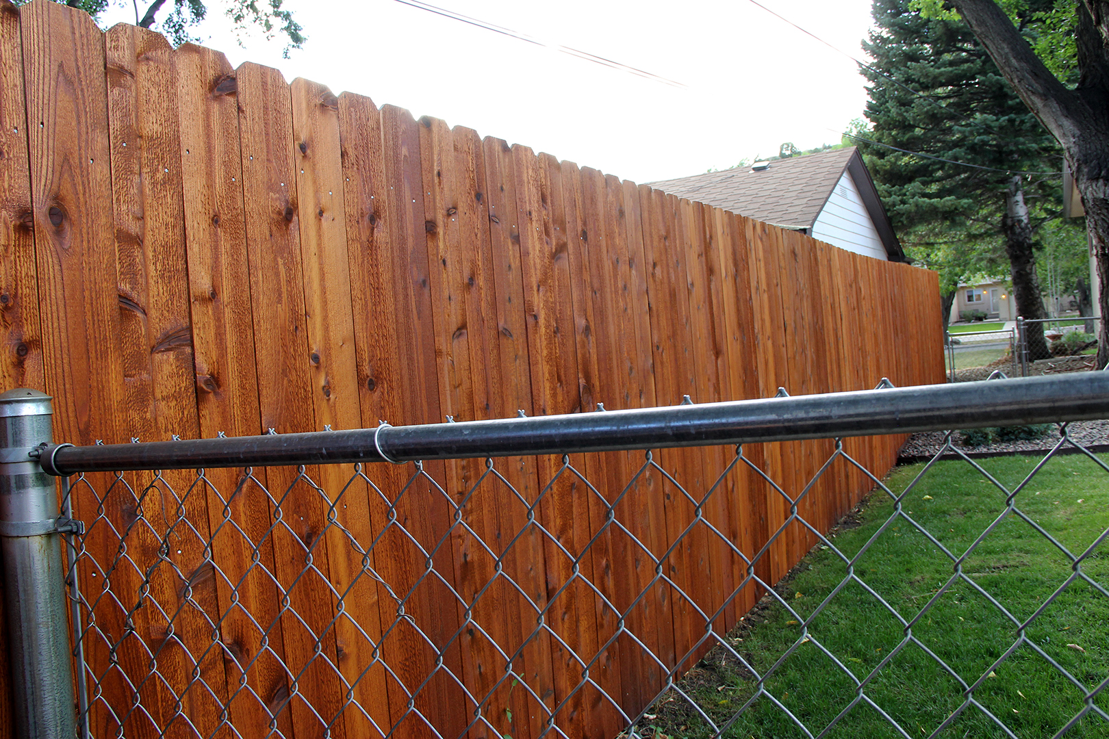 Custom Cedar and Chain Fence in Colorado Springs