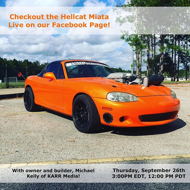 You don't want to miss this live stream with an exciting guest appearance from @mike_drifts and his Hellcat Miata! We'll be online tomorrow at 3pm Eastern, 12pm Pacific on our Facebook Page. Be sure to comment below with any questions you'd like us to talk about, and set your reminders for the stream!