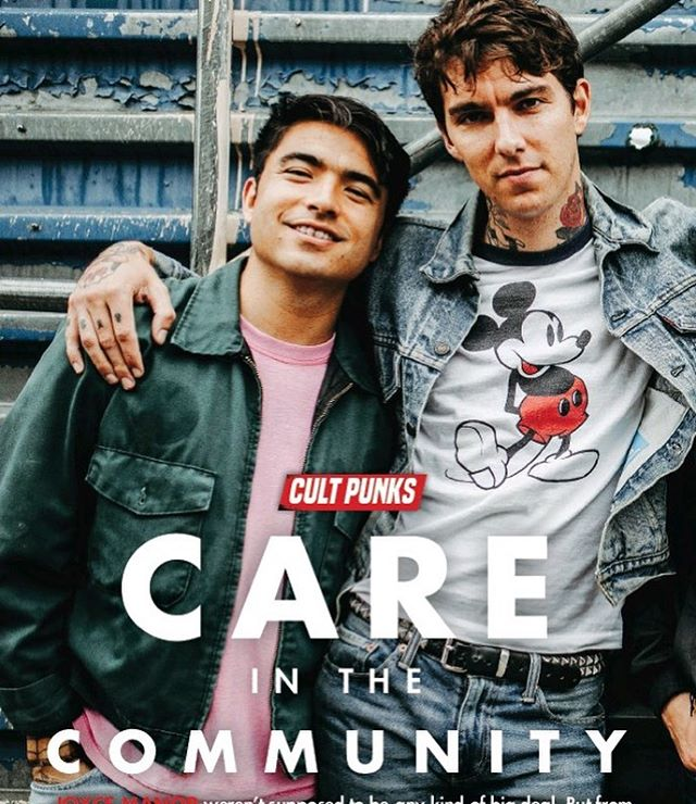 "I dunno why this pic says ""cult punks care in the community"", but I found it while trying to find a picture of myself with a really fat face. I thought it was cute and wanted to share it with all of you. It's from kerrang which is kinda like England's version of Alternstive Press. All my British friends talk about how they read it when they were kids. @angelaowens took the pic outside of Brooklyn Steel and I just think it's a nice pic. I was wearing the studded belt on that tour because I watched a Cory Duffel video part and decided I wanted to dress more punk and then regretted it halfway through tour and bought a regular belt from REI. ✌️💕💫"