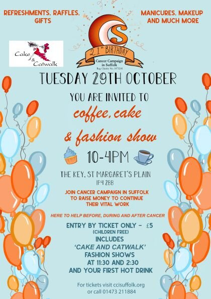 Come along to our Coffee, Cake and Fashion Show Fundraising Day - Click here to book your ticket
