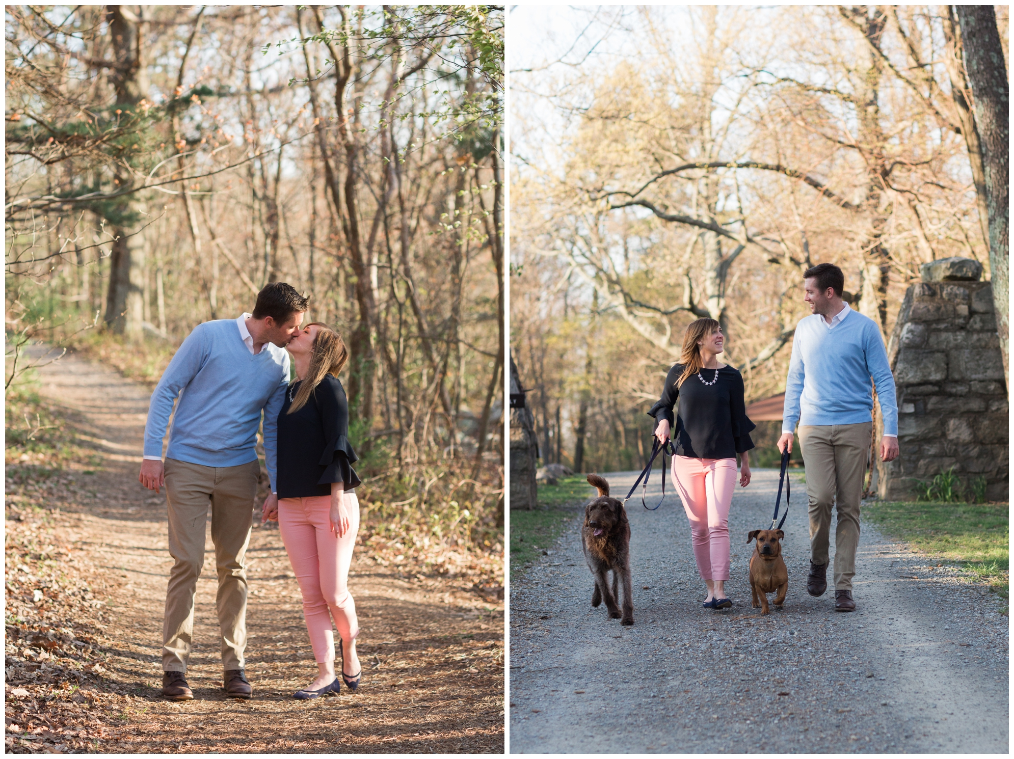 Spring engagement session at Bears Den at Bluemont, VA with two dogs