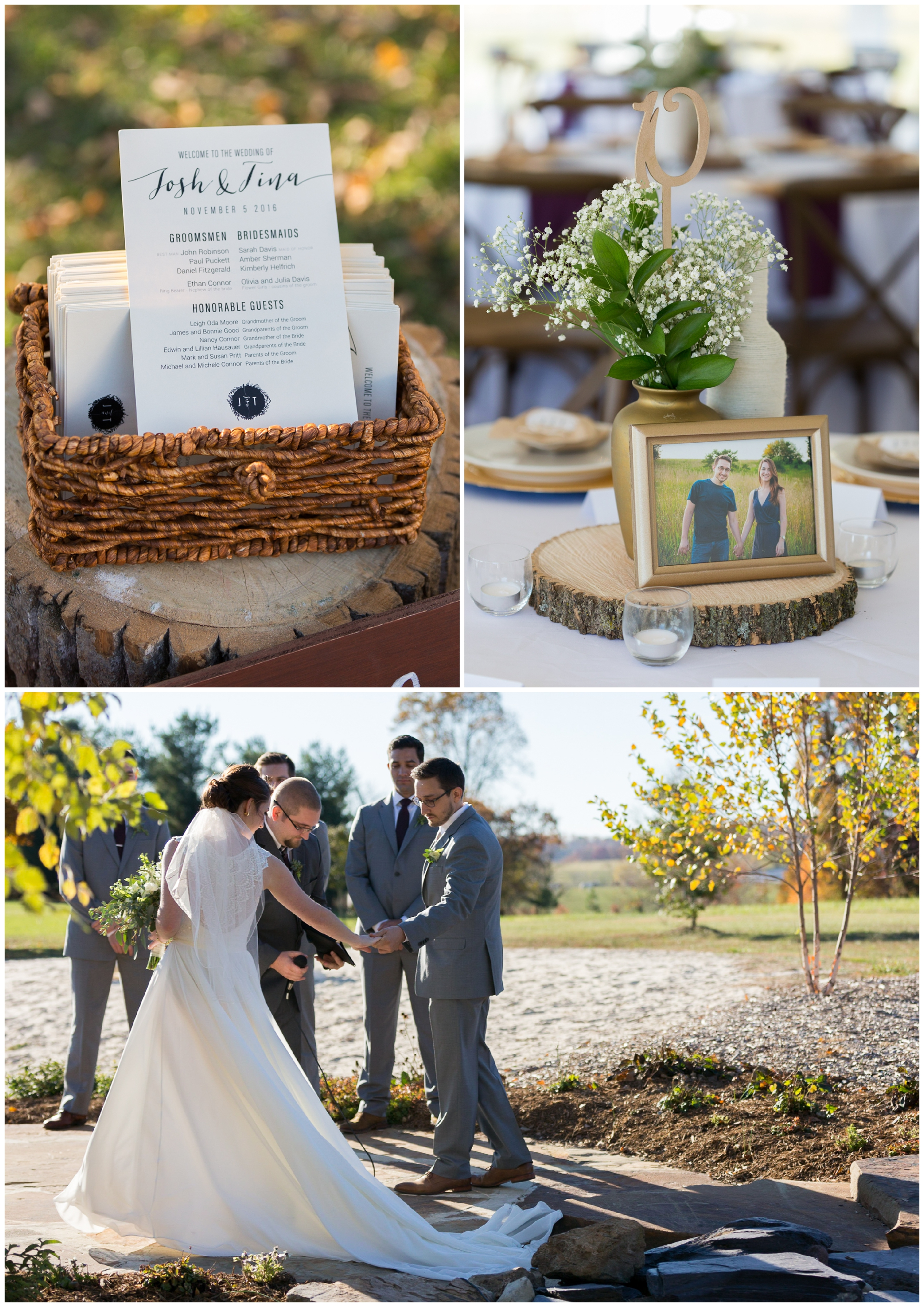 Fall wedding at Glen Ellen Farm featuring a beautiful golden and wine tones, an outdoor cocktail hour, and stunning florals