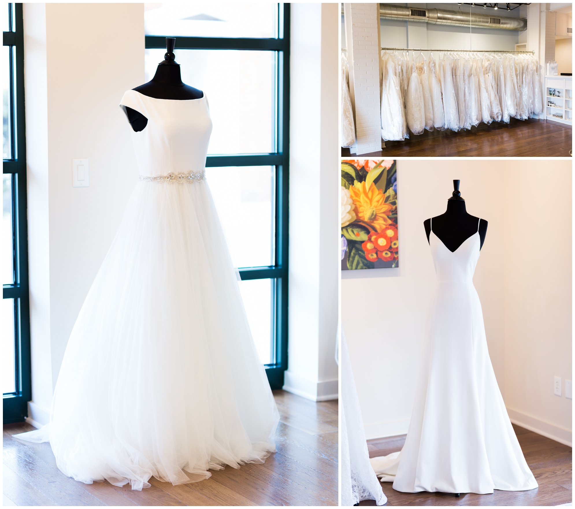 Classic bridal salon in Charlottesville, Virginia featuring modern and timeless dresses and bridal accessories perfect for a Virginia wedding