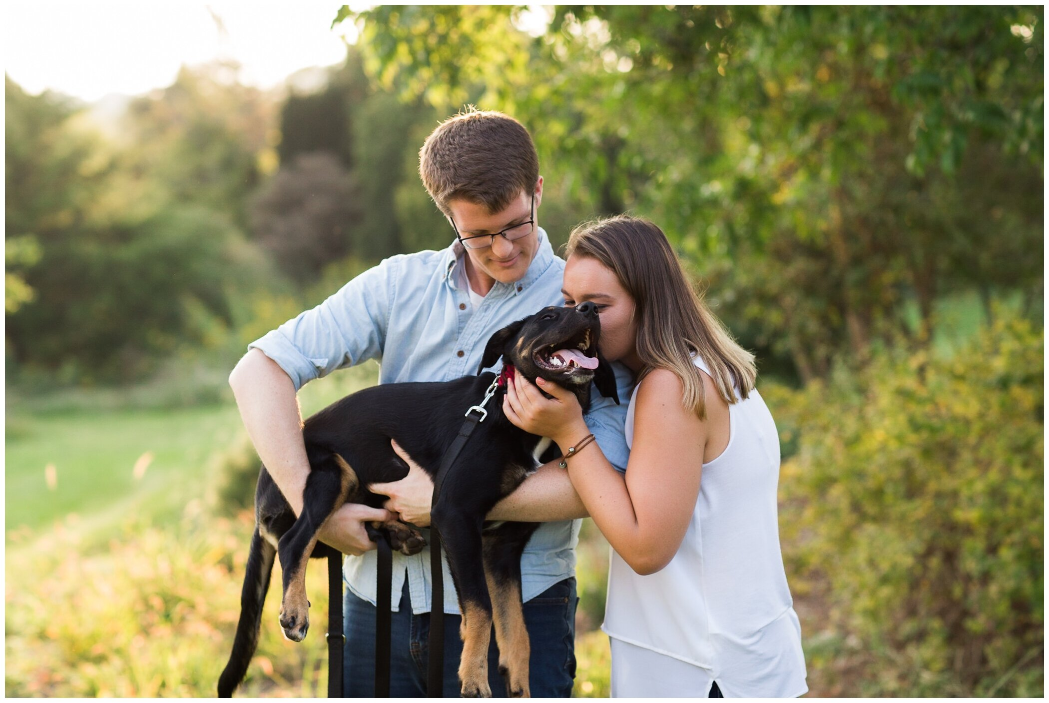 Fall family photos at Andre Viette Nursery in Fisherville VA featuring a german shepherd puppy