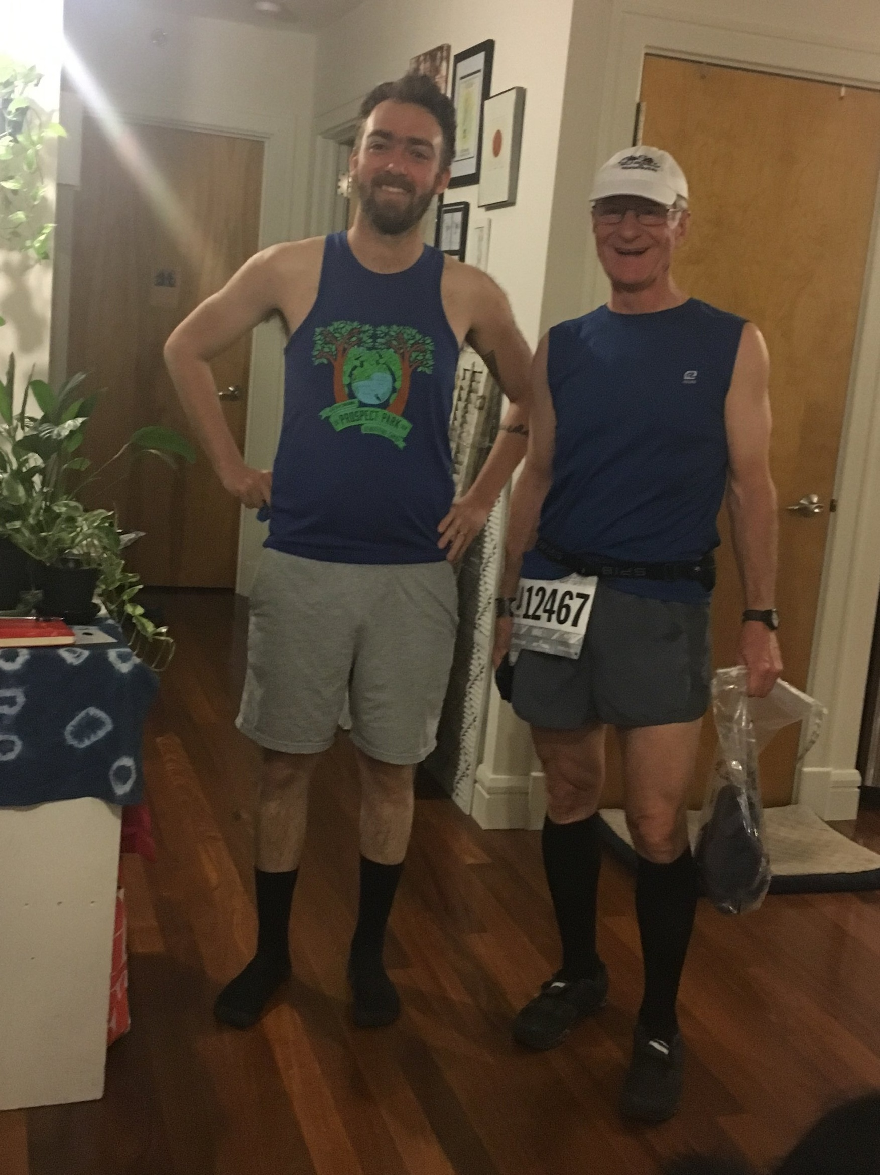 Grandpa Rabble, Pip, and Mark ran the Brooklyn Half Marathon -