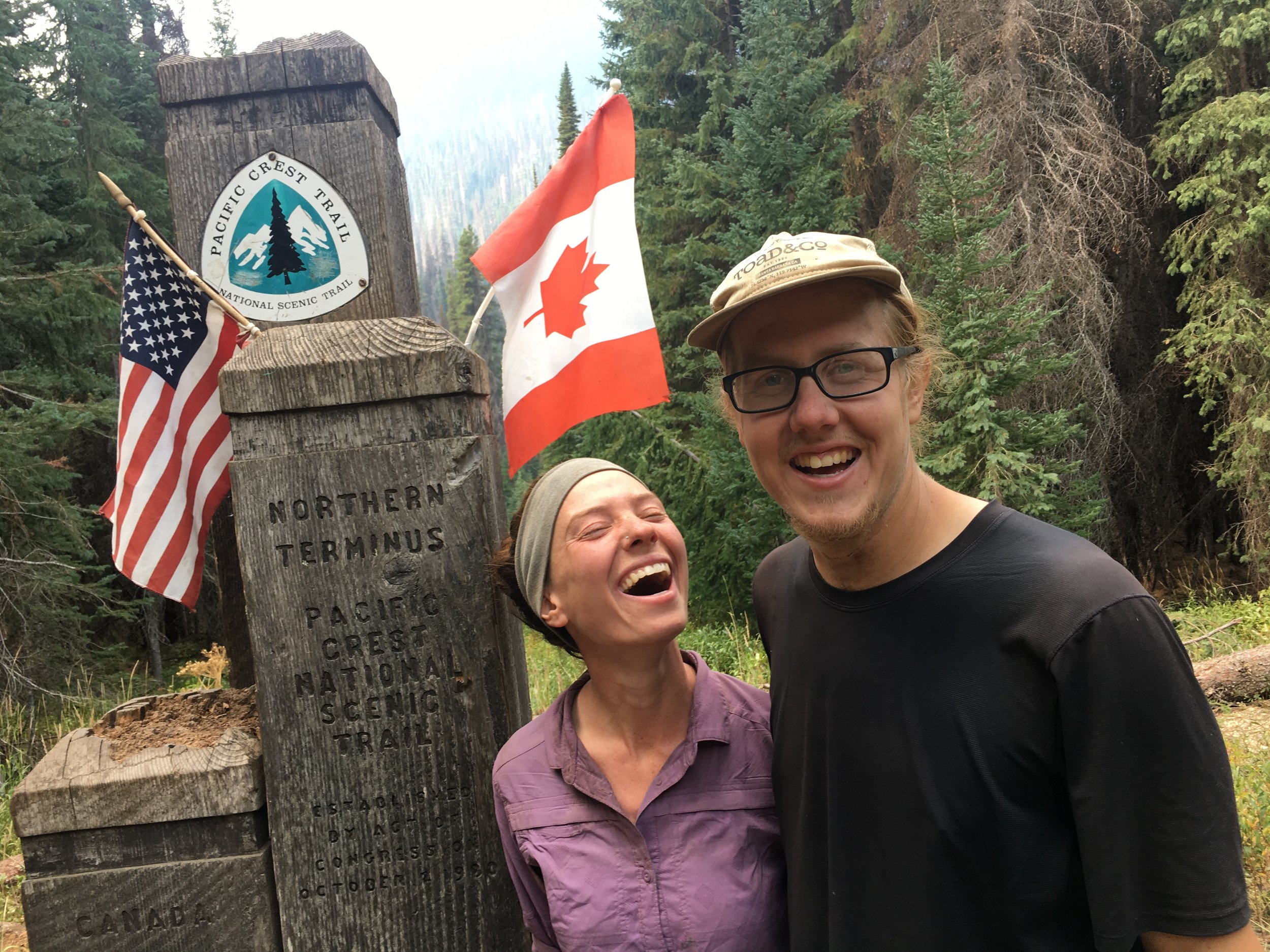 Alexa and her hiking partner AND new  fiancé  Cooper McCormick at the Northern Terminus of the PCT.