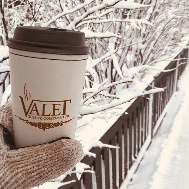 .....enjoying our hot coffee on a snowy March walk #valetsleeve#hotbevyseason