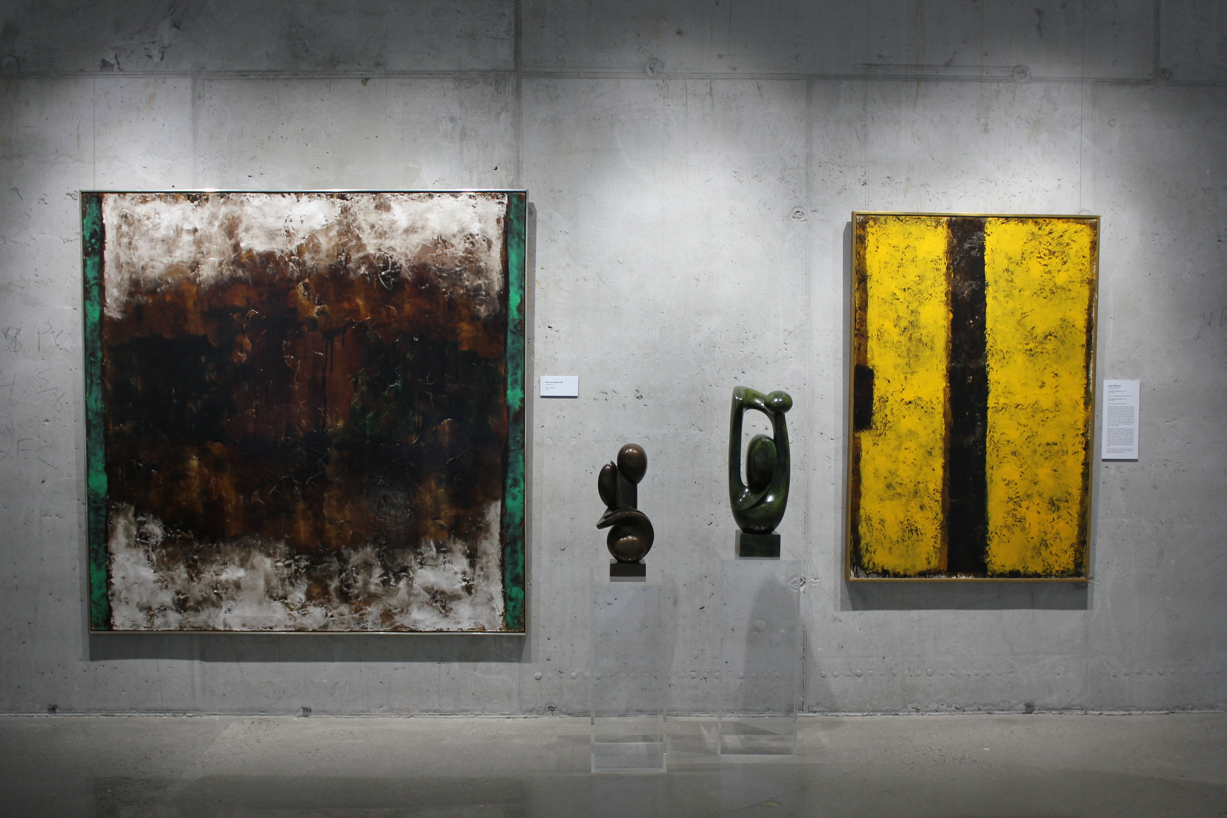 Jean McEwen, on view at the Zwig Foundation Collection with two sculptures by Maryon Kantaroff.