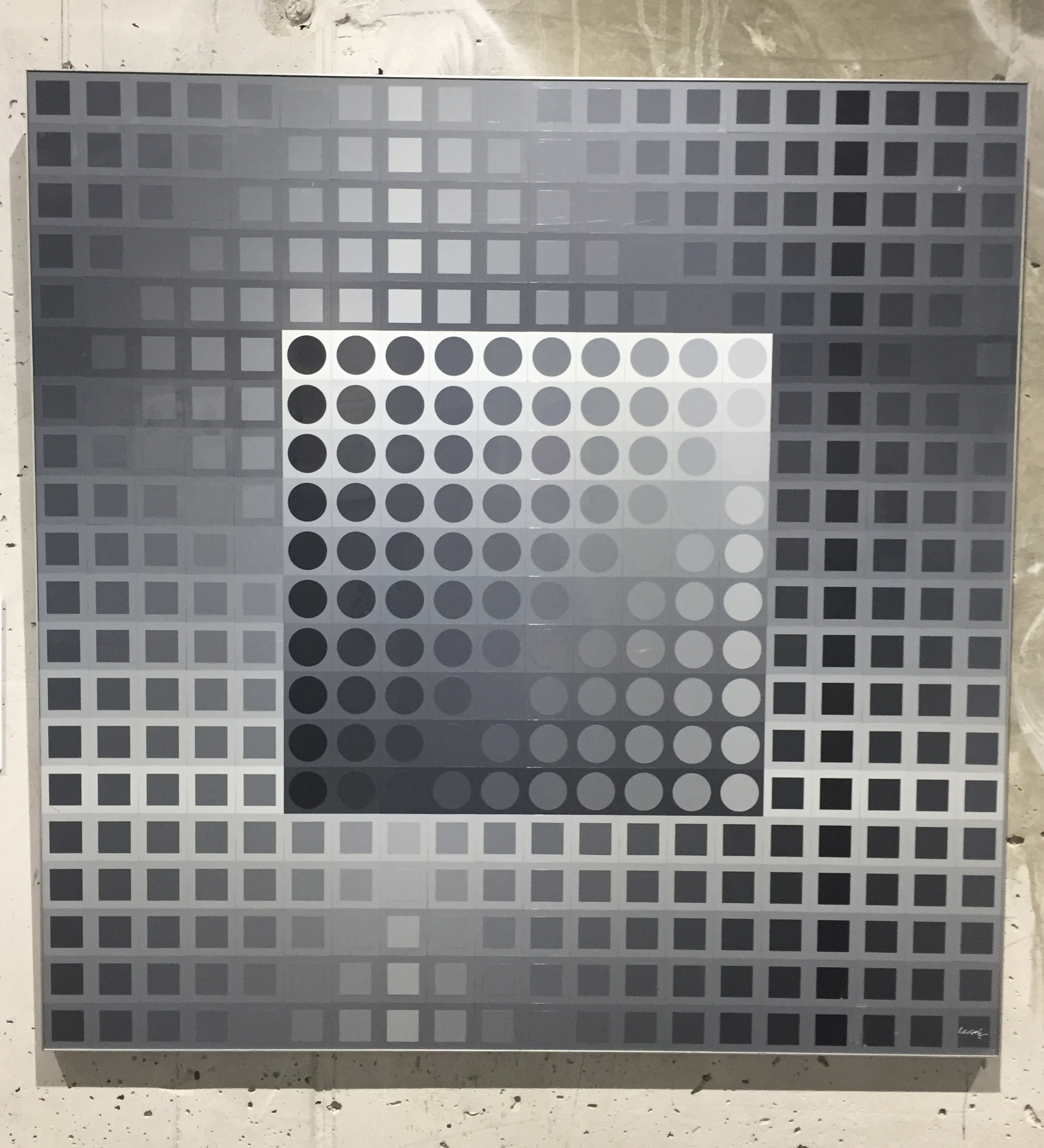 Victor Vasarely,  Monocolor Grey  (1972). On view at the Zwig Foundation Collection.