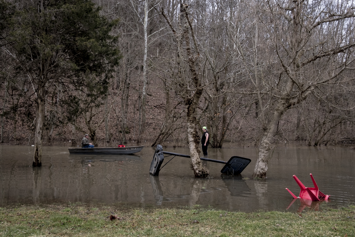 Residents of Pomeroy, Ohio help out family members and friends after experiencing another devastating flood in 2017.