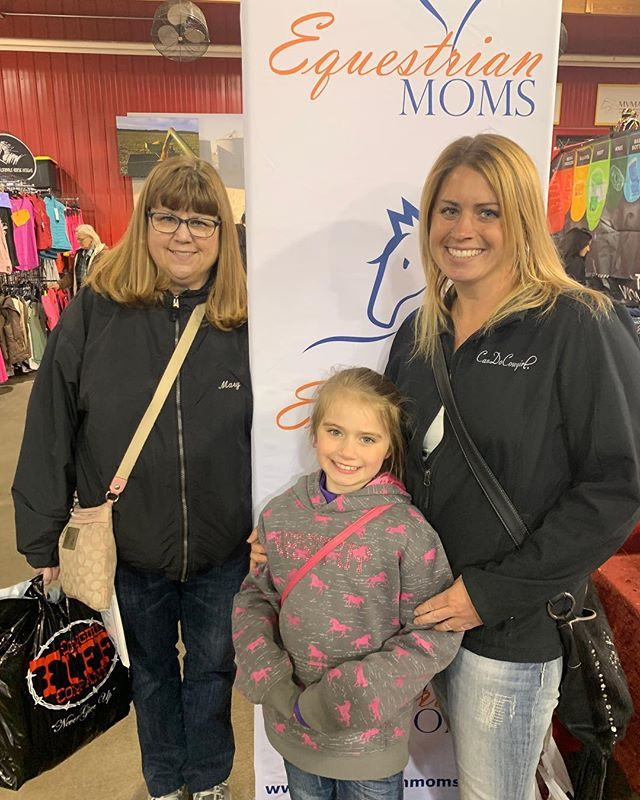 This morning at the Minnesota Horse Expo we met 3 generations of riders starting with trail riding mom Mary, her daughter Laura who shows hunter/jumpers and reining cow horse, and her 9 years old daughter Teagan who rides Western.  Equestrian Moms salute you! #equestrian #moms #3generations #horsewomen #horseexpo #mnhorseexpo