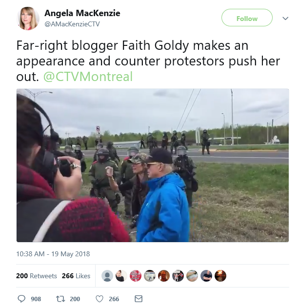 CTV Reporter, Angela Mackenzie, fails to report the assault that took place - deliberate journalistic failure.